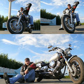 Classical biker Klimenko Oleg in black spectacles sits on chopper. — Stock Photo
