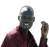 ANSUAN, EGYPT - NOVEMBER 18, 2008: Portrait of an unknown man Nubian closeup on a white background — Стоковое фото