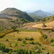 Mountain landscape in Ethiopia. River in the valley of mountains. Africa. — Stock Photo