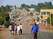AYKEL, ETHIPIA - NOVEMBER 23, 2008: Strange villagers reaching for in Aukel, Ethiopia - November 23, 2008. Village life, domestic buildings. — Stock Photo