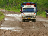 KIBITI, TANZANIA - DESEMBER 2, 2008: a Truck traveling on the ro — Stock Photo