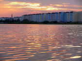 Nadym, Russia - August 19, 2007: the City of the river on the ri — Stock Photo