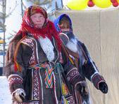Nadym, Russia - March 18, 2006: Unknown woman - Nenets, closeup, — Stock Photo