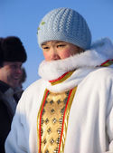 Nadym, Russia - March 2, 2007: Unknown woman - Nenets woman, clo — Stock Photo