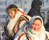 Nadym, Russia - March 2, 2007: Unknown woman - Nenets, closeup,  — Stock Photo