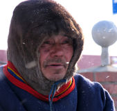 Nadym, Russia - March 11, 2005: Unknown man Nenets close-up, por — Stock Photo