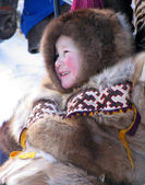 Nadym, Russia - March 11, 2005:  Unknown boy Nenets on the snowm — Stock Photo