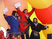 Nadym, Russia - March 16, 2008: The ceremony of awarding the win — Stock Photo