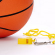Ball and whistle on a white background — Stock Photo