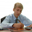 Teenager - businessman signs document. — Lizenzfreies Foto