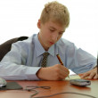 Teenager - businessman signs document. — Stock Photo #12332284