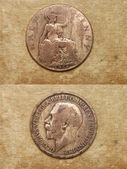 From series: coins of world. England. HALF PENNY. — Stock Photo