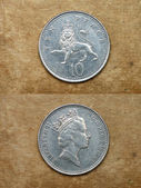 From series: coins of world. England. TEN PENCE. — Stock Photo