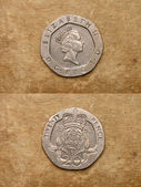 From series: coins of world. England. TWENTY PENCE. — Stock Photo
