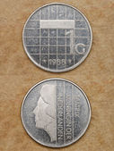 From series: coins of world. Nederlanden. One gulden. — Stock Photo