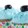 Three Blue Cupcakes in a Row — Stock Photo