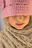 Little Girl in Pink Crochet Hat — Stock Photo