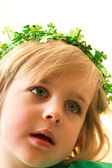 Pretty Little Girl in St. Patrick's Day Crown — Stock Photo