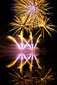 Golden and Purple Fireworks — Stock Photo