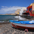 Fishing boat on the beach of El Medano village, Tenerife — Stock Photo
