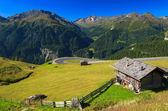 前景の山小屋で高山の道 — ストック写真