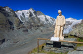 View of Grossglockner mountain and Emperor Franz Josef statue in the foreground — Stock Photo