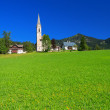 Green meadow in alpine village with church in the distance — Stock Photo