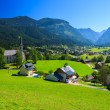 View of Gosau village in alpine valley in summer time — Foto de Stock