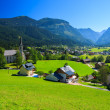 View of Gosau village in alpine valley in summer time — Stockfoto