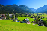 View of Gosau village in alpine valley in summer time — Stock Photo