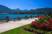 Promenade with flowers and benches on the shore of alpine lake in summer — Stock Photo