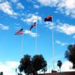 The flags of Arizona, Great Britain and the USA — Stock Photo