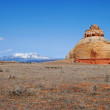 La Sal Mountains and the lonely Church rock — Stock Photo