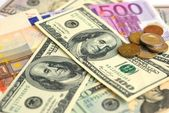 Dollar and Euro bank note money background — Stock Photo