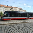 Tram on Prague street. - Stock Photo