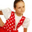 The child dances in Russian dance costume — Stock Photo