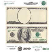 Clear 100 dollar banknote template and elements — Stock Photo