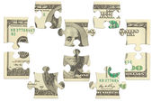 Dollar bank note money puzzle — Stock Photo