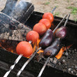 Eggplant and tomato on skewer roasting on an open fire — Stock Photo