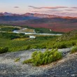 Wild river valley at sunset — Stockfoto