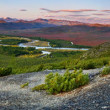Wild river valley at sunset — Stock fotografie