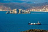 Cargo ship in the sea bay — Stock Photo