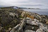 The nature of summer Norway. Mountains and fjords. Fogs and clouds. Rocky coast — Стоковое фото