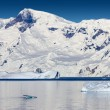 Nature of Antarctic Peninsula. Ices and icebergs. Travel on deep pure waters among glaciers of Antarctica. Fantastic snow landscapes. — Stock Photo #18586661