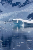 Nature of Antarctic Peninsula. Ices and icebergs. Travel on deep pure waters among glaciers of Antarctica. Fantastic snow landscapes. — Stockfoto