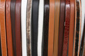 Handmade leather belts in Cotacachi — Stock Photo