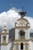Quiroga Church with Storm Clouds on Mount Cotacachi — Stock Photo