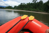 Paddles on a Rubber Raft — Stock Photo