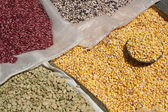 Bags of Beans and Corn at the Otavalo Market — Stock Photo