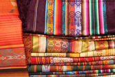 Stacked Linens in the Otavalo Market — Stock Photo